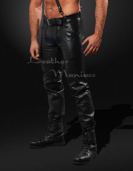 Zimmermannshose Leder schwarz