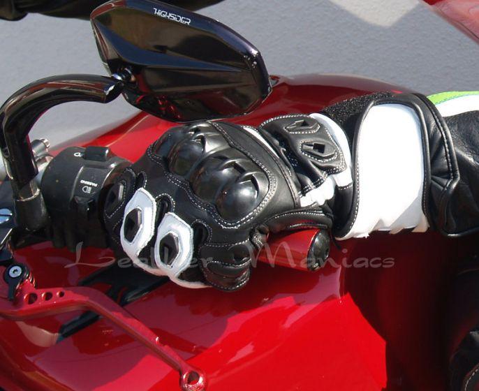 Motorradhandschuhe Leder schwarz weiss