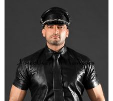 leather uniform cap with chain
