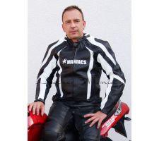 Leder-Bikerjacke schwarz-weiss
