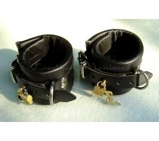 Padded leather restraints lockable