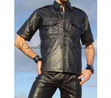 Herren Lederhemd schwarz glänzend