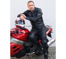 Motorrad Lederkombi 2 Teiler schwarz