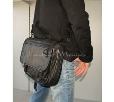 Leder Laptoptasche schwarz