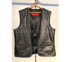 leather vest black with pockets