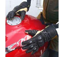 Motorradhandschuhe schwarz-beige