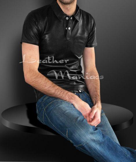 Leder-Polohemd