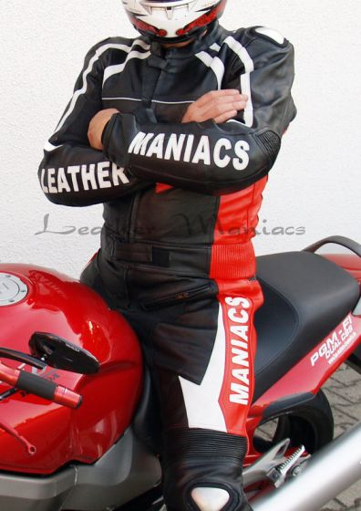 Leder-Motorradkombi schwarz-rot