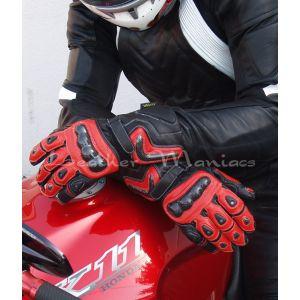 Motorradhandschuhe aus Leder rot
