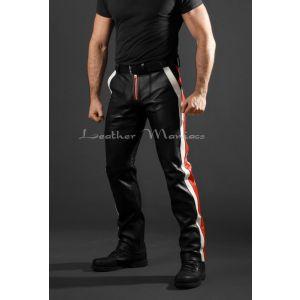 Lederhose schwarz rot weiss Racer