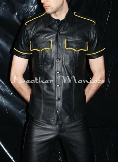 kurzarm Lederhemd gelbe Streifen