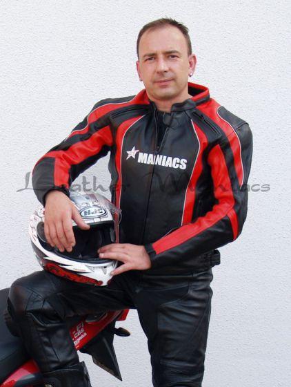 Leder-Motorradjacke schwarz-rot