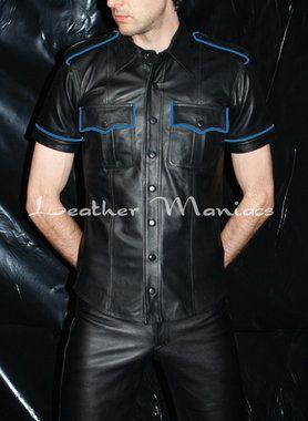 Lederhemd mit Schulterklappen und blaue Paspel